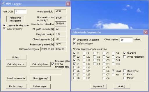 Główne okna programu MPS-Logger do konfiguracji rejestratora