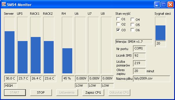Program SMS4-Monitor: rejestracja temperatury, wilgotności i napięcia